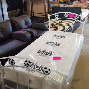 Football metal frame bed 120€ Mattress 120€