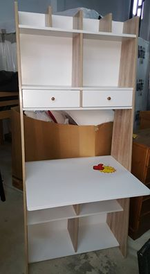 Auckland Wall Unit Desk White And Oak Effect