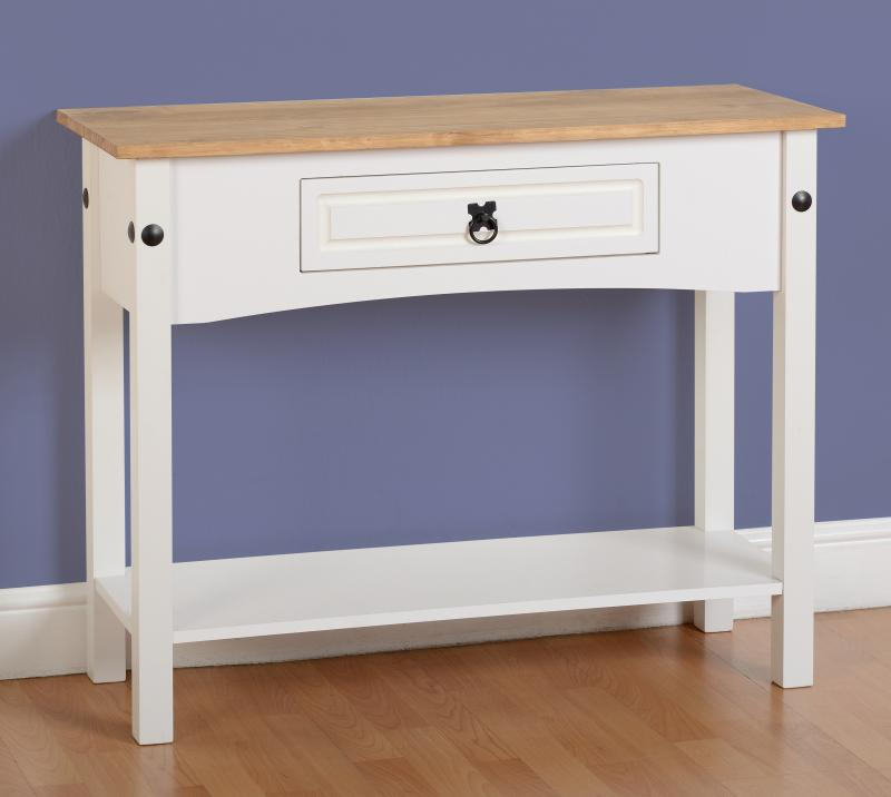 NEW White Corona 1 Drawer Console Table ONLY 139.99u20ac | Global Discount  Furniture Outlet