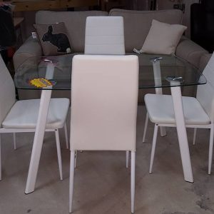 NEW Abbey Dining set with 4 white chairs 249.99