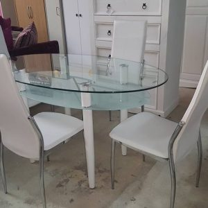 New Berkley dining set with 4 white chairs 395