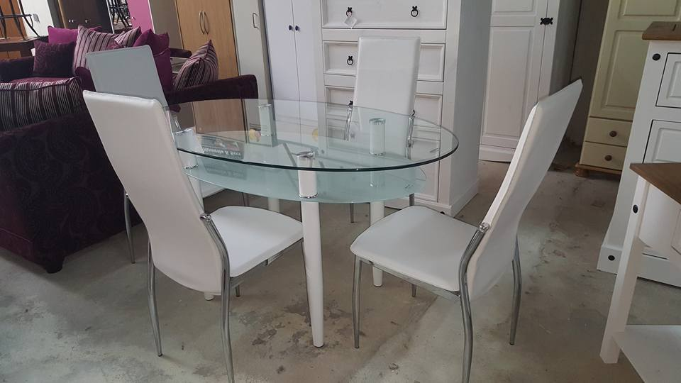 New Modern Berkley Dining Set 4 White Chairs Only 395 Global Discount Furniture Outlet