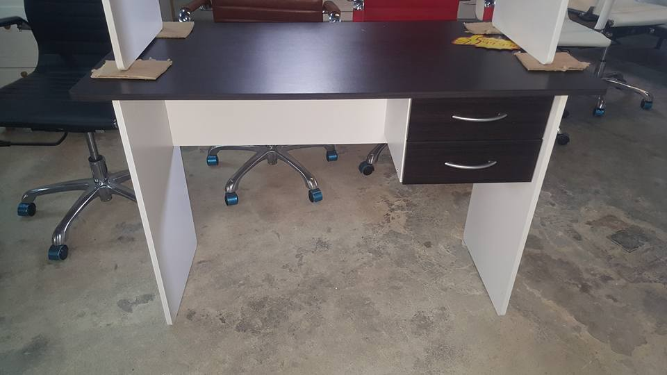 NEW 2 drawer desk wenge white 99.99