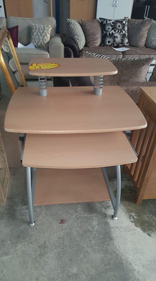 New Beech Silver Computer Desk Only 79 99