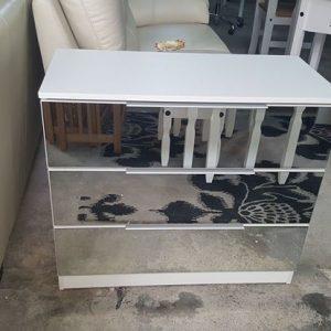 NEW 3 Drawer white mirrored chest 149.99€