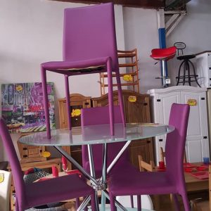 NEW Glass table + 4 chairs 125