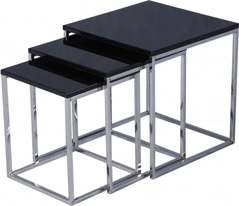New 3 Tier Black Gloss Nest Of Tables Only 119 99