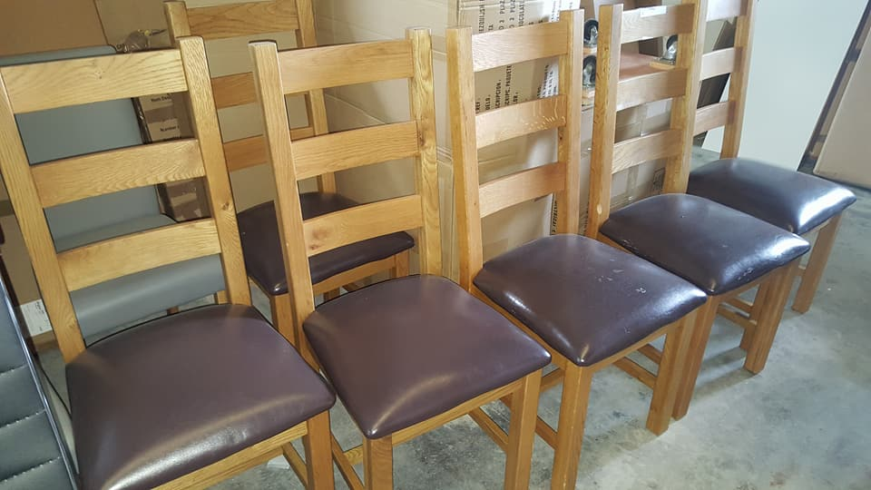 BRAND NEW 6X SOLID OAK FARMHOUSE DINING CHAIRS ONLY 249.99u20ac