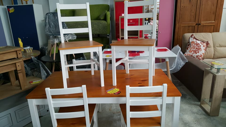 NEW PINE WHITE DINING TABLE SET 6 CHAIRS 175u20ac & NEW PINE/WHITE DINING TABLE + 6 CHAIRS ONLY 175u20ac | Global Discount ...