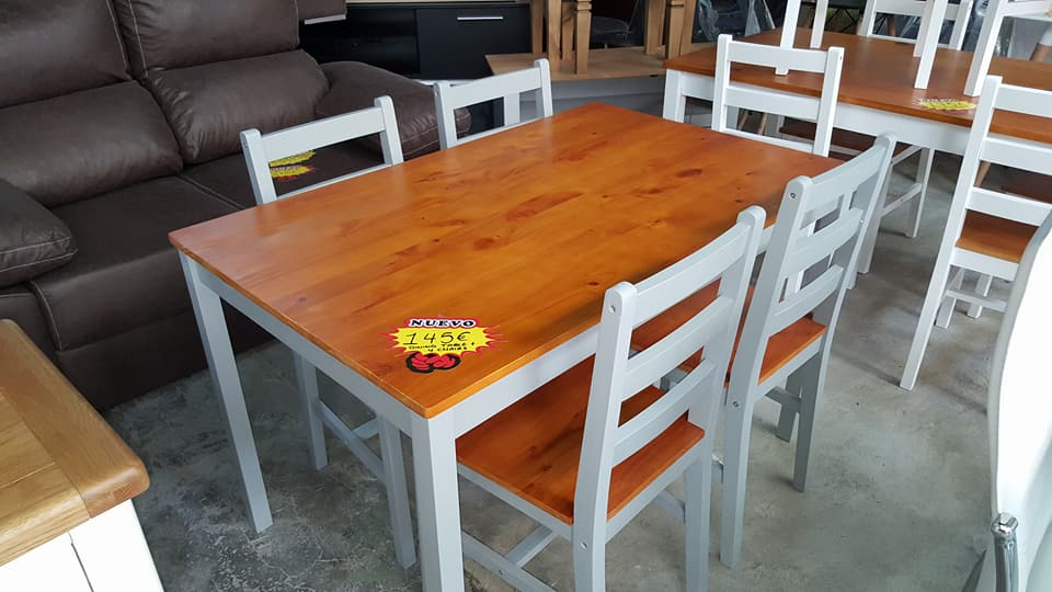 New Pine Grey Dining Table 4 Chairs Only 145 Global Discount