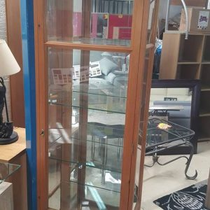 Ex display Beautiful pine glass display cabinet with light 225