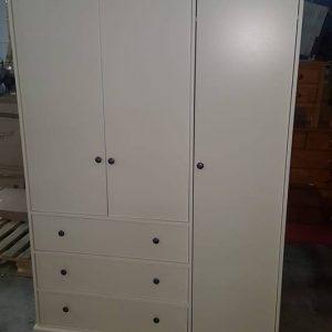 new 3 door 3 drawer cream oak robe 295