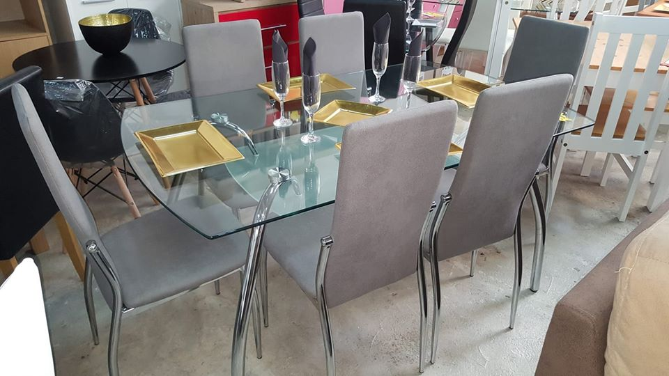 New elegant glass chrome dining table grey