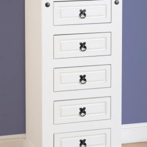 MED_CORONA_5_DRAWER_NARROW_CHEST_WHITE 195€