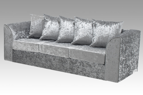 Silver Luxury Crushed Velvet Sofa Set