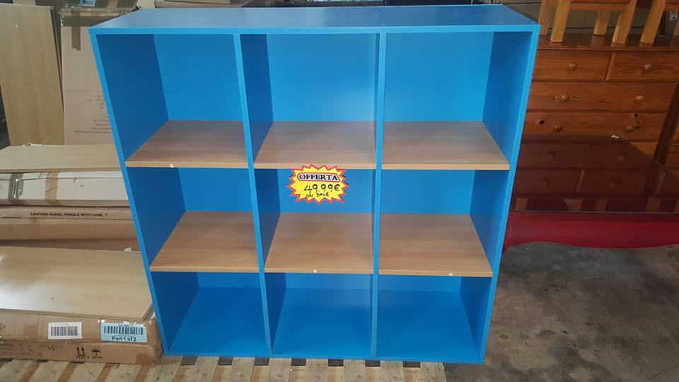new blue and beech cube display unit 49.99