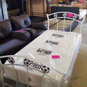 Football metal frame bed 120€ Mattress 120€