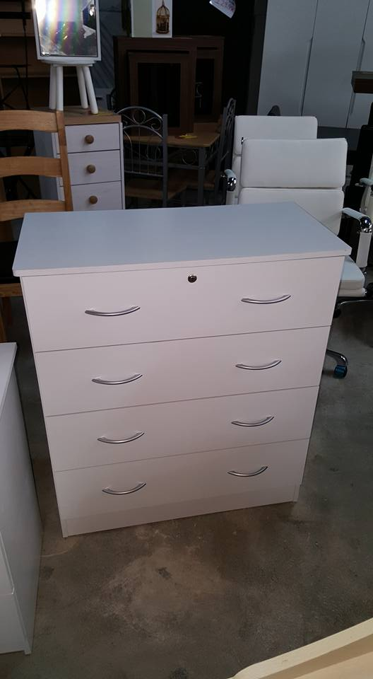 New White 4 Drawer Chest Of Drawers With Lock 120 Global
