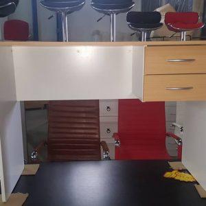 NEW 2 drawer desk beech white 99.99
