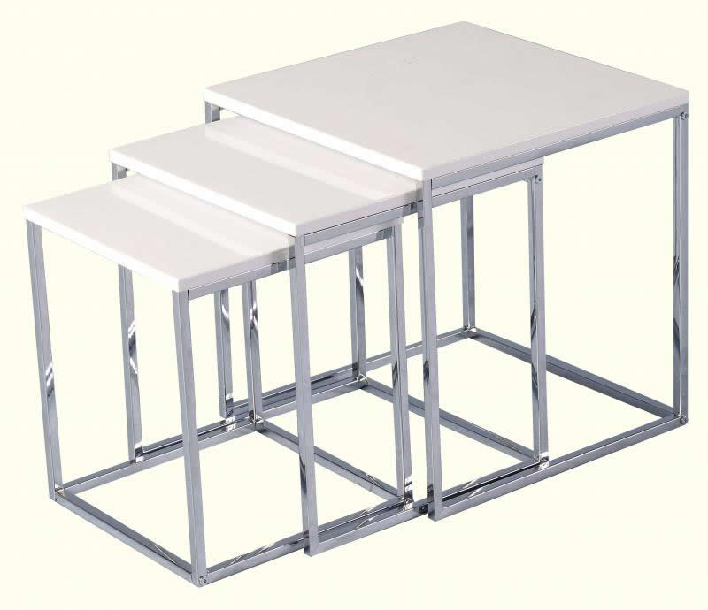 New 3 Tier White Gloss Nest Of Tables